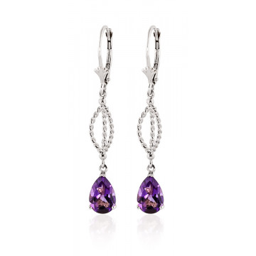 Amethyst Sceptre Drop Earrings 3 ctw in 9ct White Gold