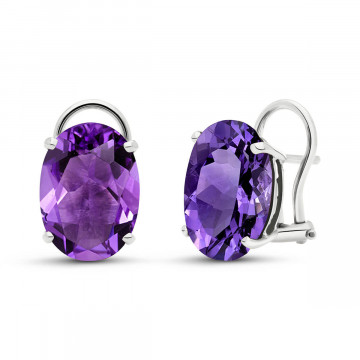 Amethyst Stud Earrings 15.1 ctw in 9ct White Gold