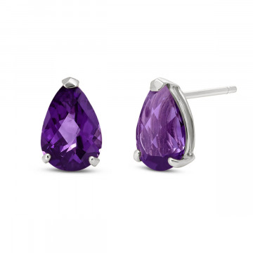 Amethyst Stud Earrings 3.15 ctw in 9ct White Gold
