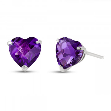 Amethyst Stud Earrings 3.25 ctw in 9ct White Gold