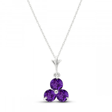 Amethyst Trinity Pendant Necklace 0.75 ctw in 9ct White Gold
