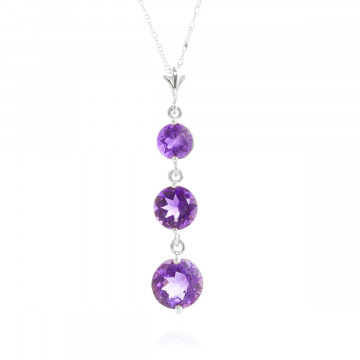 Amethyst Trinity Pendant Necklace 3.6 ctw in 9ct White Gold