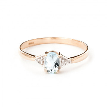 Aquamarine & Diamond Allure Ring in 9ct Rose Gold