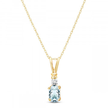 Aquamarine & Diamond Cap Oval Pendant Necklace in 9ct Gold