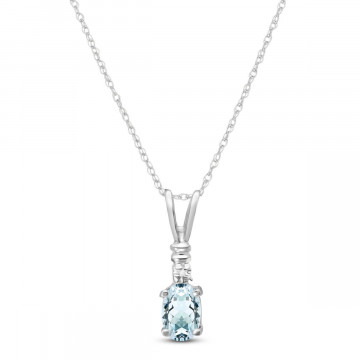 Aquamarine & Diamond Cap Oval Pendant Necklace in 9ct White Gold