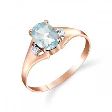 Aquamarine & Diamond Desire Ring in 9ct Rose Gold