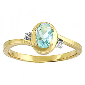Aquamarine & Diamond Meridian Ring in 9ct Gold