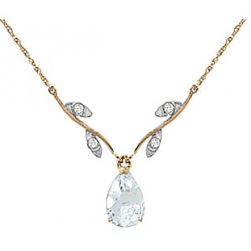 Aquamarine & Diamond Vine Branch Pendant Necklace in 9ct Gold