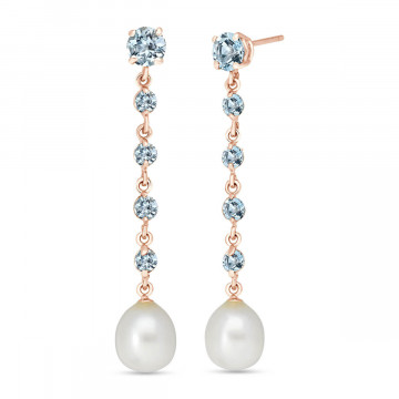 Aquamarine & Pearl by the Yard Drop Earrings in 9ct Rose Gold