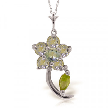 Aquamarine & Peridot Flower Petal Pendant Necklace in 9ct White Gold