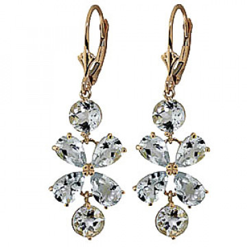 Aquamarine Blossom Drop Earrings 5.32 ctw in 9ct Gold