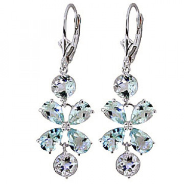 Aquamarine Blossom Drop Earrings 5.32 ctw in 9ct White Gold