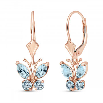 Aquamarine Butterfly Drop Earrings 0.85 ctw in 9ct Rose Gold