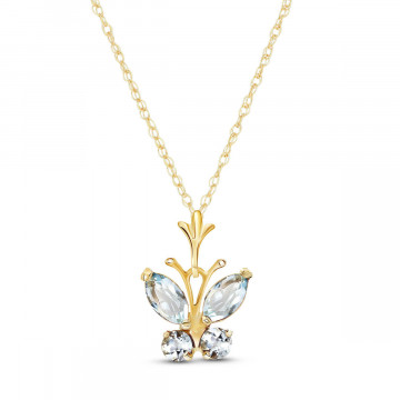 Aquamarine Butterfly Pendant Necklace 0.4 ctw in 9ct Gold