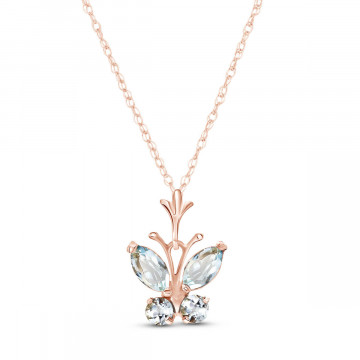 Aquamarine Butterfly Pendant Necklace 0.4 ctw in 9ct Rose Gold