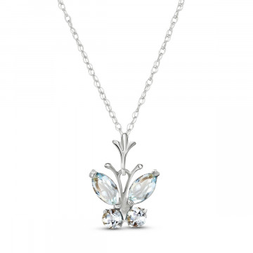 Aquamarine Butterfly Pendant Necklace 0.6 ctw in 9ct White Gold