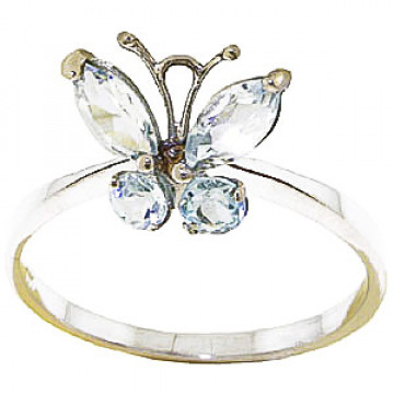 Aquamarine Butterfly Ring 0.6 ctw in 9ct Gold