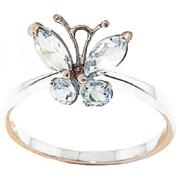 Aquamarine Butterfly Ring 0.6 ctw in 9ct Rose Gold