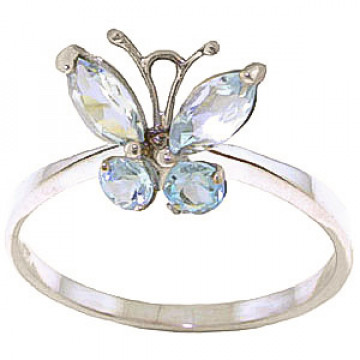 Aquamarine Butterfly Ring 0.6 ctw in 9ct White Gold