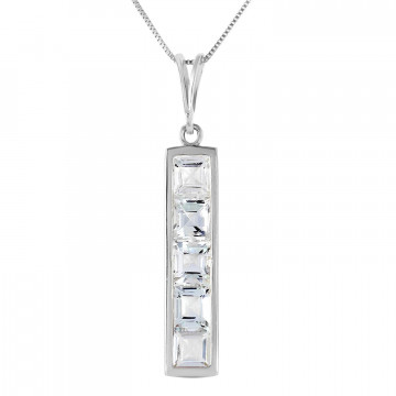 Aquamarine Channel Set Pendant Necklace 2.25 ctw in 9ct White Gold