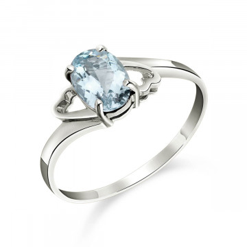 Aquamarine Classic Desire Ring 0.75 ct in 9ct White Gold