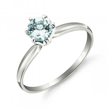Aquamarine Crown Solitaire Ring 0.65 ct in 9ct White Gold