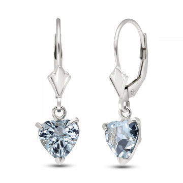 Aquamarine Drop Earrings 3.05 ctw in 9ct White Gold