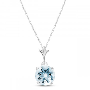 Aquamarine Drop Pendant Necklace 1.15 ct in 9ct White Gold