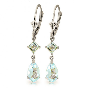 Aquamarine Droplet Earrings 4.5 ctw in 9ct White Gold