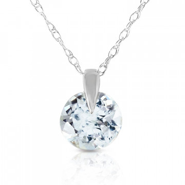 Aquamarine Gem Drop Pendant Necklace 0.65 ct in 9ct White Gold