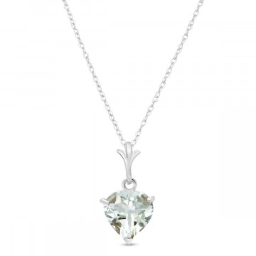 Aquamarine Heart Pendant Necklace 1.15 ct in 9ct White Gold