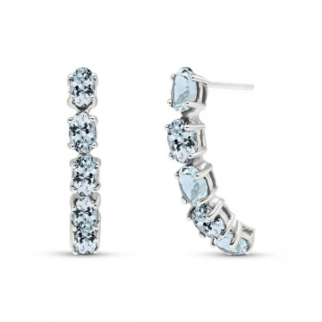 Aquamarine Linear Stud Earrings 2.5 ctw in 9ct White Gold