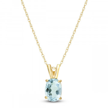 Aquamarine Oval Pendant Necklace 0.75 ct in 9ct Gold