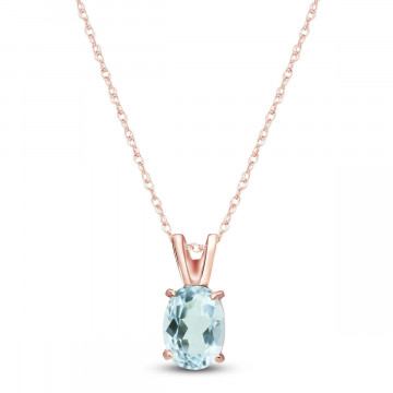 Aquamarine Oval Pendant Necklace 0.75 ct in 9ct Rose Gold