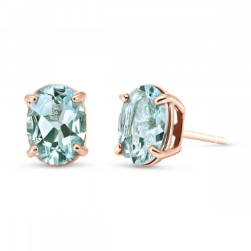Aquamarine Stud Earrings 1.8 ctw in 9ct Rose Gold