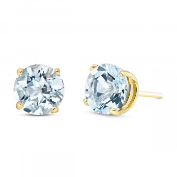 Aquamarine Stud Earrings 3.1 ctw in 9ct Gold