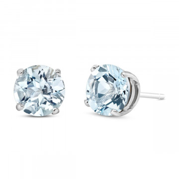 Aquamarine Stud Earrings 3.1 ctw in 9ct White Gold