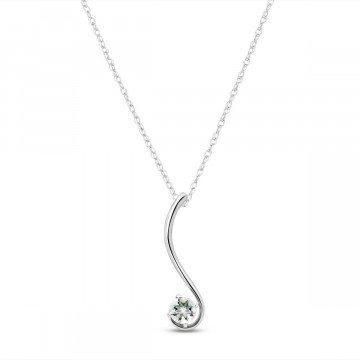 Aquamarine Swish Pendant Necklace 0.55 ct in 9ct White Gold