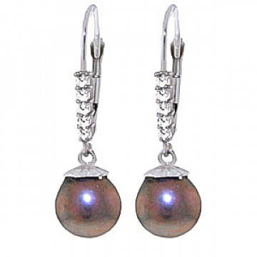 Black Pearl & Diamond Drop Earrings in 9ct White Gold