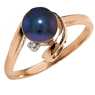 Black Pearl & Diamond Twist Ring in 9ct Gold