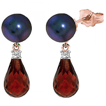 Black Pearl, Diamond & Garnet Stud Earrings in 9ct Rose Gold