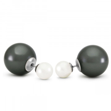 Black Pearl Double Shell Stud Earrings 71.1 ctw in 9ct White Gold