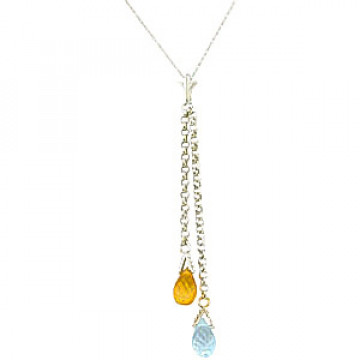 Blue Topaz & Citrine Droplet Pendant Necklace in 9ct White Gold