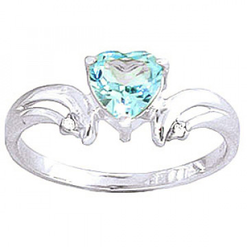 Blue Topaz & Diamond Affection Heart Ring in 9ct White Gold