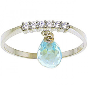 Blue Topaz & Diamond Band in 9ct White Gold