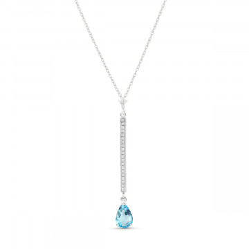 Blue Topaz & Diamond Bar Pendant Necklace in 9ct White Gold