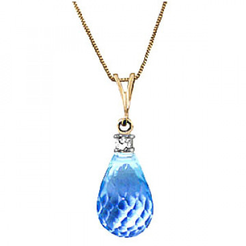 Blue Topaz & Diamond Beret Pendant Necklace in 9ct Gold