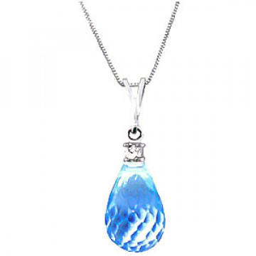 Blue Topaz & Diamond Beret Pendant Necklace in 9ct White Gold