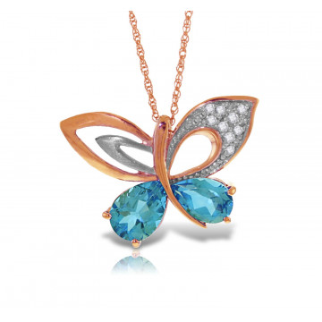 Blue Topaz & Diamond Butterfly Pendant Necklace in 9ct Rose Gold