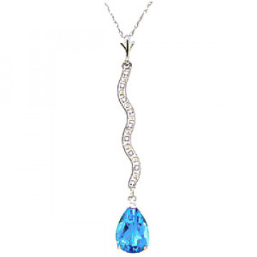 Blue Topaz & Diamond Cannes Pendant Necklace in 9ct White Gold